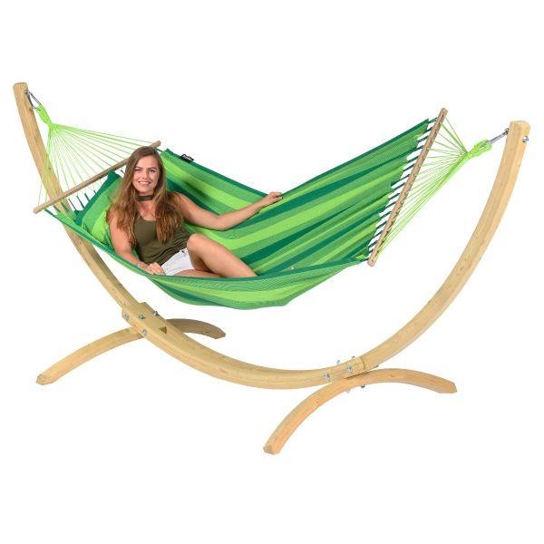Wood & Relax Green Hamaca Individual con Soporte