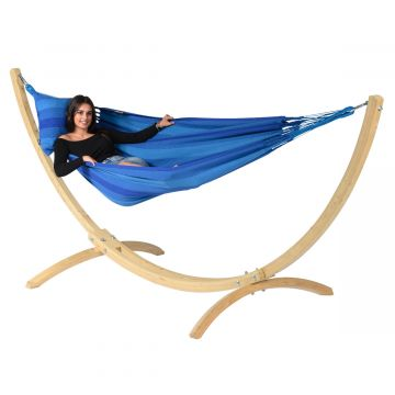 Wood & Dream Blue Hamaca Individual con Soporte