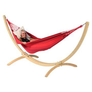 Wood & Dream Red Hamaca Individual con Soporte