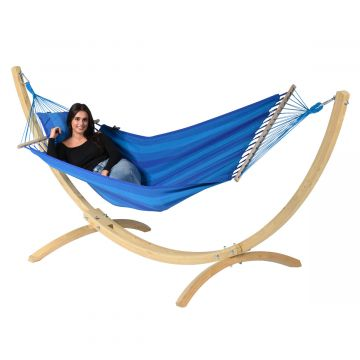 Wood & Relax Blue Hamaca Individual con Soporte