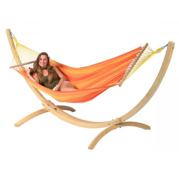 Wood & Relax Orange Hamaca Individual con Soporte