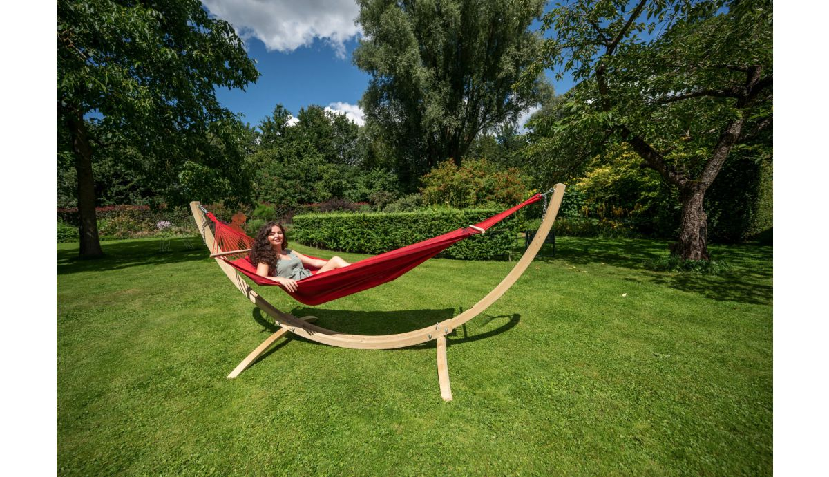'Wood & Relax' Red Hamaca Individual con Soporte
